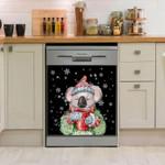 Koala Hot Drink Christmas Pattern Dishwasher Cover Sticker Kitchen Decor