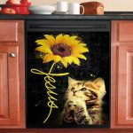 Jesus Praying Cat And Beautiful Sunflower Black Dishwasher Cover Sticker Kitchen Decor