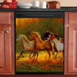 Horse Gold Dust Dishwasher Cover Sticker Kitchen Decor
