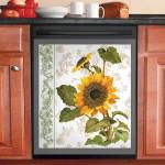 Florals Sunflower Dishwasher Cover Sticker Kitchen Decor