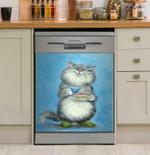 Good Morning Cute Cat Dishwasher Cover Sticker Kitchen Decor