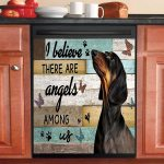 I Believe There Are Angels Among Us Dachshund Dishwasher Cover Sticker Kitchen Decor