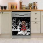 German Shorthaired Pointer Snowy Night Pattern Dishwasher Cover Sticker Kitchen Decor