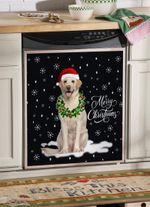 Labrador Retriever Wreath Neckle Christmas Dishwasher Cover Sticker Kitchen Decor