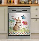 Spring Bunny And Flowers Dishwasher Cover Sticker Kitchen Decor