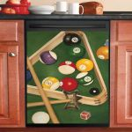 Vintage Billiard Balls Dishwasher Cover Sticker Kitchen Decor