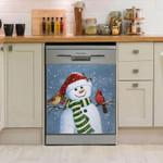 Snowman Cardinal Birds And Snowman Pattern Dishwasher Cover Sticker Kitchen Decor