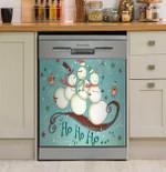 Sledding Snowmen Collection Dishwasher Cover Sticker Kitchen Decor