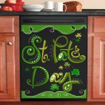 St Pat's Day Green And Black Dishwasher Cover Sticker Kitchen Decor