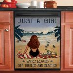 Vintage Beach Just A Girl Who Loves Sea Turtles And Beaches Dishwasher Cover Sticker Kitchen Decor