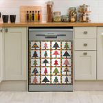 Colorful Christmas Tree Dishwasher Cover Sticker Kitchen Decor