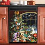 Christmas Santa Visit Dishwasher Cover Sticker Kitchen Decor