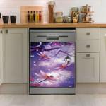 Dragonfly Tree Purple Pattern Dishwasher Cover Sticker Kitchen Decor