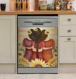 Dream Sunflower Girl Dishwasher Cover Sticker Kitchen Decor