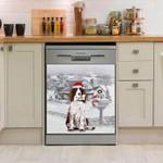 English Springer Winter Snow Pattern Dishwasher Cover Sticker Kitchen Decor
