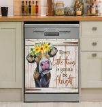 Cute Cow Every Little Thing Is Gonna Be Alright Dishwasher Cover Sticker Kitchen Decor