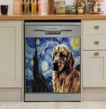 Dog Golden Starry Night Dishwasher Cover Sticker Kitchen Decor