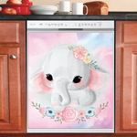 Cute Baby Elephant And Flowers Dishwasher Cover Sticker Kitchen Decor