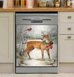 Deer And Cardinal Snow Forest Dishwasher Cover Sticker Kitchen Decor