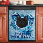 Christmas Cairn Terrier Blue Snowflake Dishwasher Cover Sticker Kitchen Decor