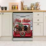 Dachshund Merry Christmas Dishwasher Cover Sticker Kitchen Decor