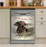 Dachshund Christmas Dishwasher Cover Sticker Kitchen Decor