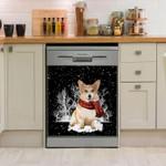 Corgi Snow Forest Dishwasher Cover Sticker Kitchen Decor