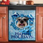 Christmas Blue Snowflakes Schnauzer Dishwasher Cover Sticker Kitchen Decor