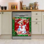 Corgi Man Christmas Dishwasher Cover Sticker Kitchen Decor