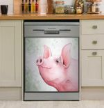 Cute Pig Face Pink Dishwasher Cover Sticker Kitchen Decor