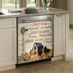 Family Rules Stay Humble Show Kindness Farmland Dishwasher Cover Sticker Kitchen Decor