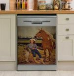 Cowgirl And She Lived Happily Horse And Dog Dishwasher Cover Sticker Kitchen Decor