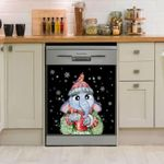 Elephant Hot Drink Christmas Pattern Dishwasher Cover Sticker Kitchen Decor