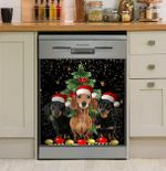 Dachshund Christmas Spotted Pattern Dishwasher Cover Sticker Kitchen Decor