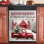 Christmas Red Truck Barn Cardinal Blessed Dishwasher Cover Sticker Kitchen Decor