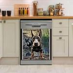 Doberman Face Dishwasher Cover Sticker Kitchen Decor