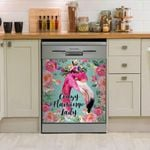 Crazy Flamingo Lady Pinky Wreath Dishwasher Cover Sticker Kitchen Decor