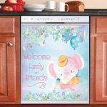 Cute Elephant Welcome Pattern Dishwasher Cover Sticker Kitchen Decor