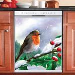 Cute Little Winter Robin Dishwasher Cover Sticker Kitchen Decor