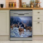 Deers In A Winter Day Dishwasher Cover Sticker Kitchen Decor