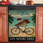 Cycling Club Owl Dishwasher Cover Sticker Kitchen Decor