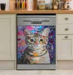 Cute Funny Cat Painting Dishwasher Cover Sticker Kitchen Decor