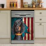 Dachshund With American Flag Dishwasher Cover Sticker Kitchen Decor