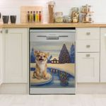 Chihuahua Smiling Night Snow Dishwasher Cover Sticker Kitchen Decor
