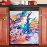 Enchanting Life Peacock Dishwasher Cover Sticker Kitchen Decor