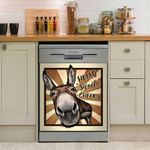 Donkey Sweet Checks Pattern Dishwasher Cover Sticker Kitchen Decor