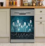 Dream Dandelions Blue Dishwasher Cover Sticker Kitchen Decor