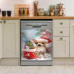 Chihuahua Celebrate Xmas Dishwasher Cover Sticker Kitchen Decor