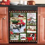 Cow Red Truck Christmas Dishwasher Cover Sticker Kitchen Decor