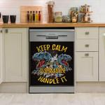 Dinosaur T Rex Keep Calm Pattern Dishwasher Cover Sticker Kitchen Decor